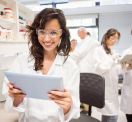 Scientists researching molecular analysis